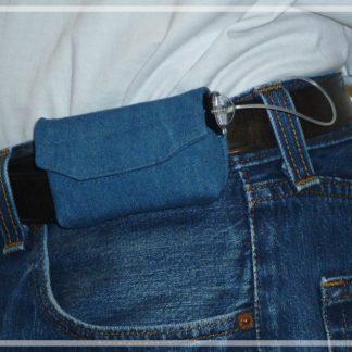 """pochette en tissu de type """"jean's"""" pour pompe à insuline, port à la ceinture"""